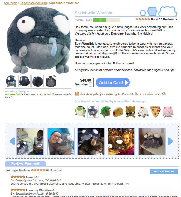 Squishable product page showing reviews and UCG.
