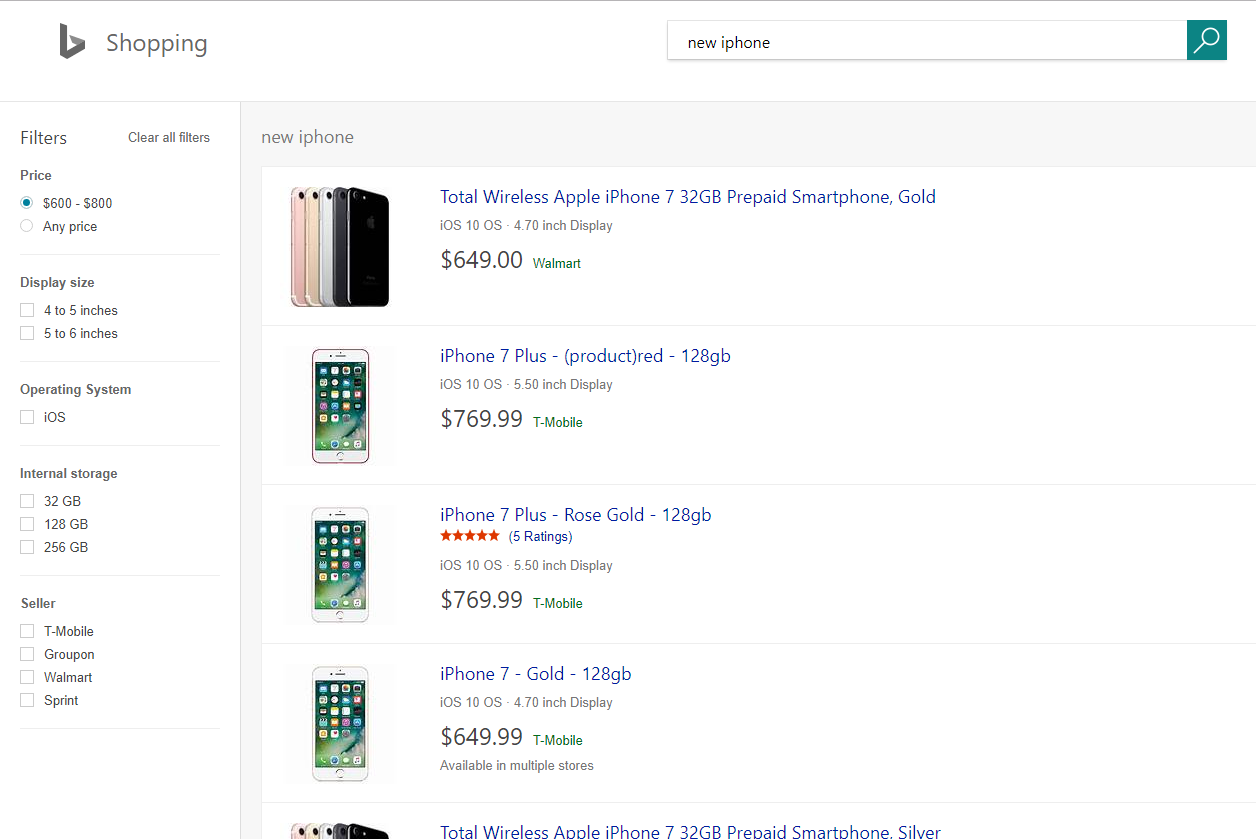 Bing's Shopping tab has new filtering capabilities on the left-hand side of the page.