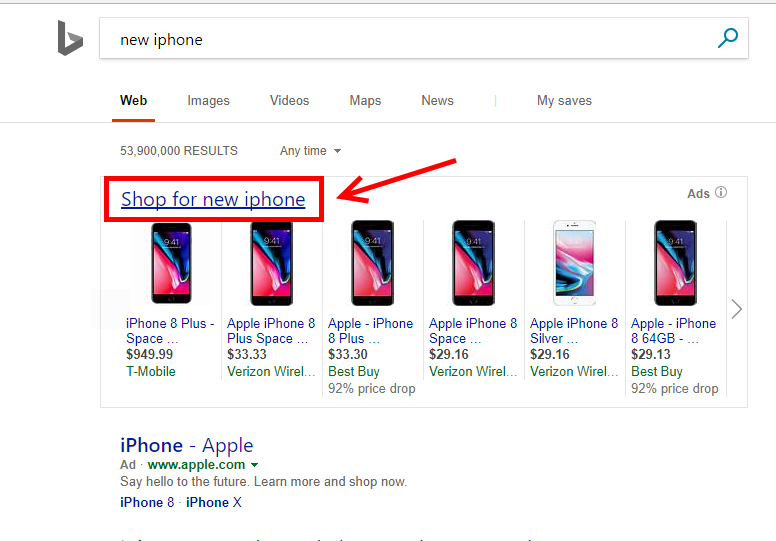 "Bing's new ""Shop for"" link on desktop searches takes users to a page that enables detailed filtering and comparing."