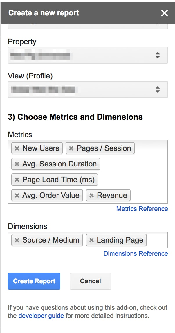 On Google Sheets, go to <em>Add-ons > Get add-ons > Google Analytics</em>.