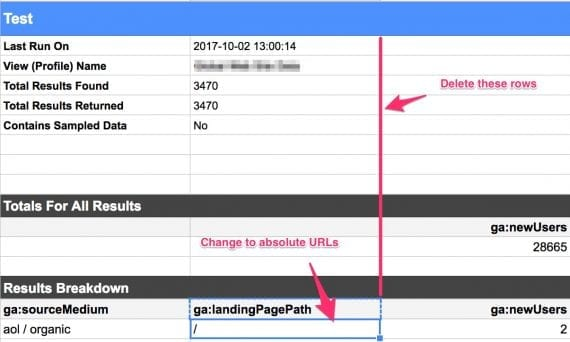 The values under ga:landingPagePath need to be absolute URLs. You can do this operation in a separate sheet, and copy the results back.