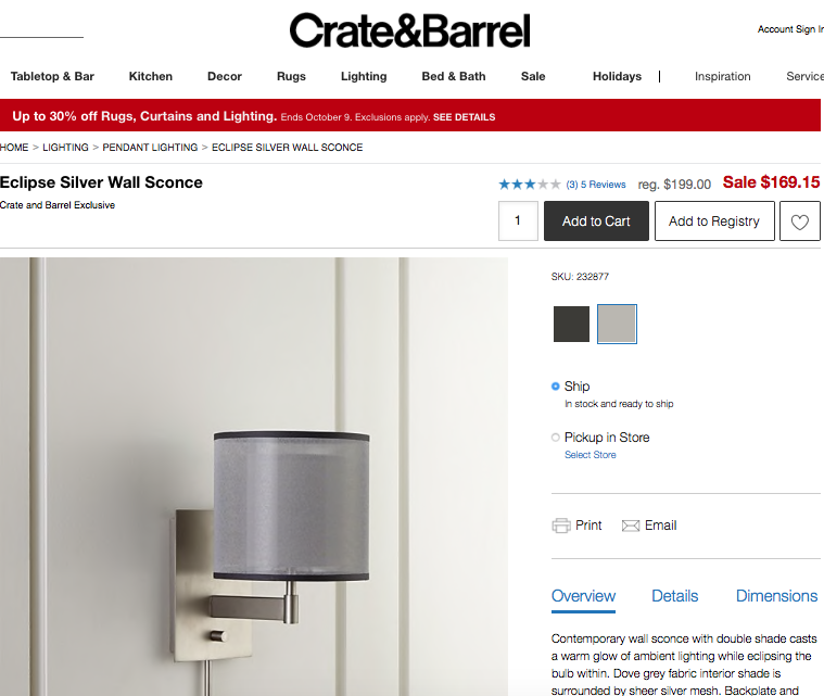 Crate & Barrel slides the CTA above the product.
