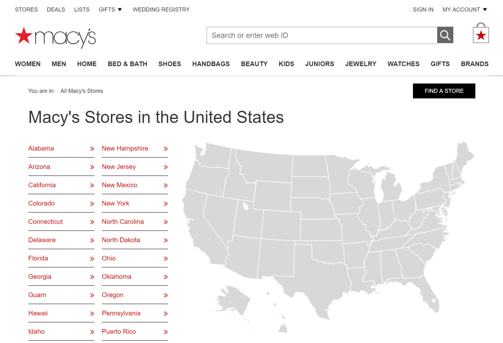 Search engines can crawl and index Macy's list of state pages.