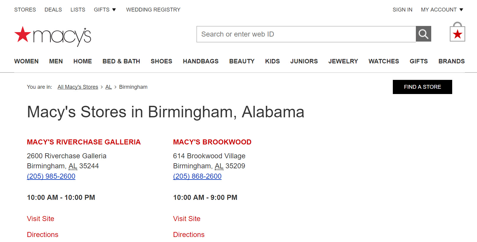 Clicking on the state page for Alabama produces the two Macy's locations in the state, with links to individual pages for store details.