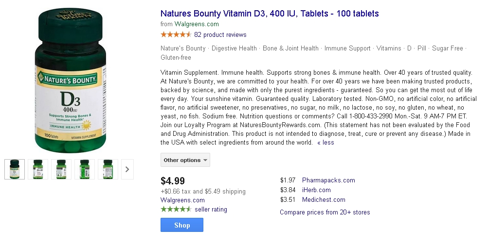 This product description on Amazon for vitamin tablets is in paragraph form, making it hard to pick out important points.