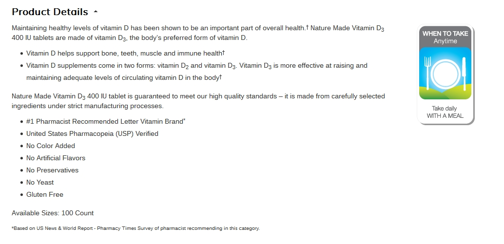This vitamin D product description uses a bullet format. It's much easier to take in information from this listing. <em>Source: Amazon.</em>
