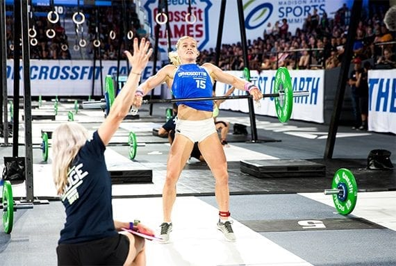 Katrin Davidsdottir, shown here competing during Amanda .45, is the 2017 CrossFit women's champion. Many fitness fans would be interested to know what's on her holiday wish list. <em>Image: CrossFit Games.</em>