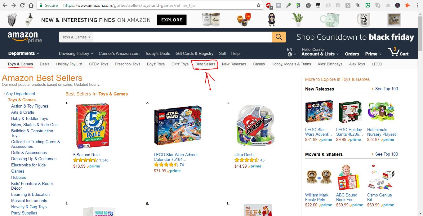 The Best Sellers tab in each category lists the top 100 products.
