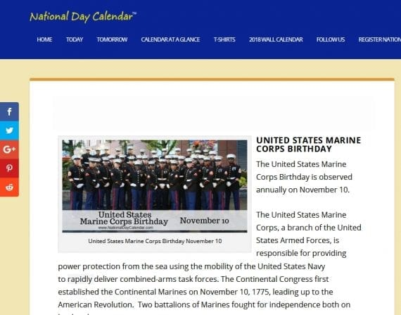 NationalDayCalendar.com highlights more than a thousand special days, weeks and months, including the U.S. Marine Corps birthday.
