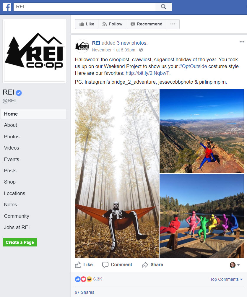 REI's Facebook channel promotes its blog content.