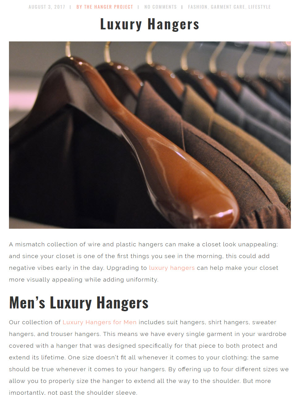 The Hanger Project Blog links in a controlled way to relevant product categories.