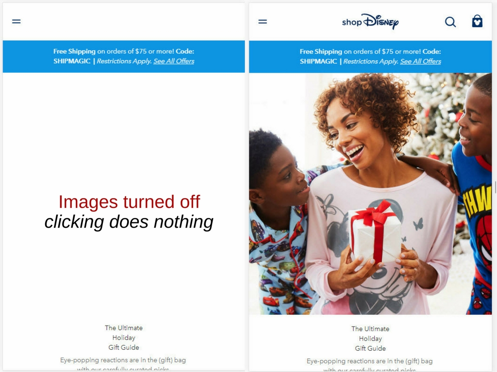 Example of Disney's online store. Images turned off with no alt attribute, and images turned on.