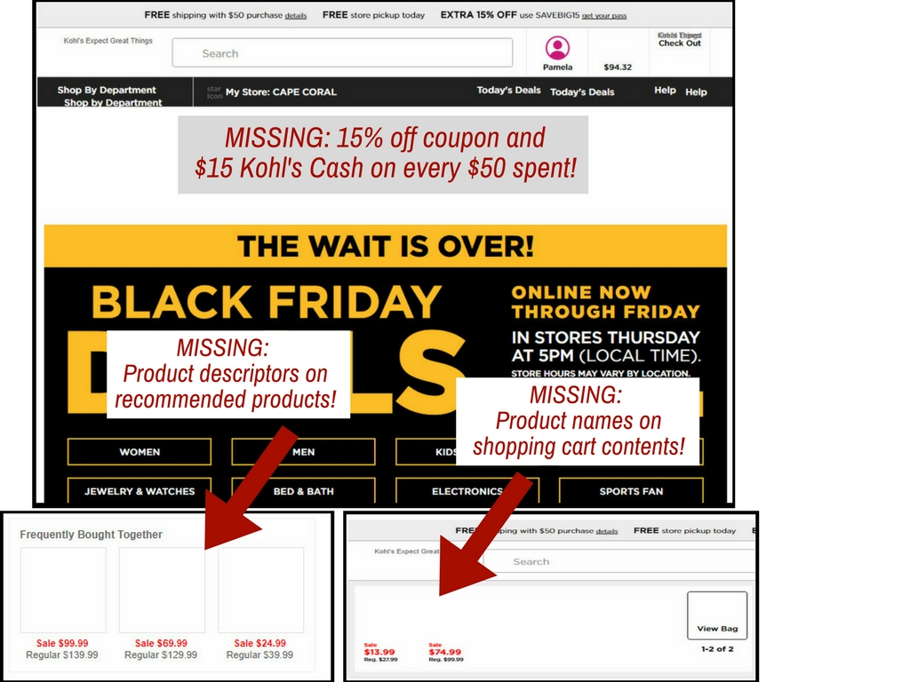 Various locations on Kohl's website that leaves people confused if images are turned off.
