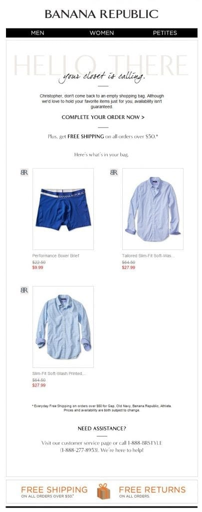 This abandon cart email from Banana Republic included images of the products.