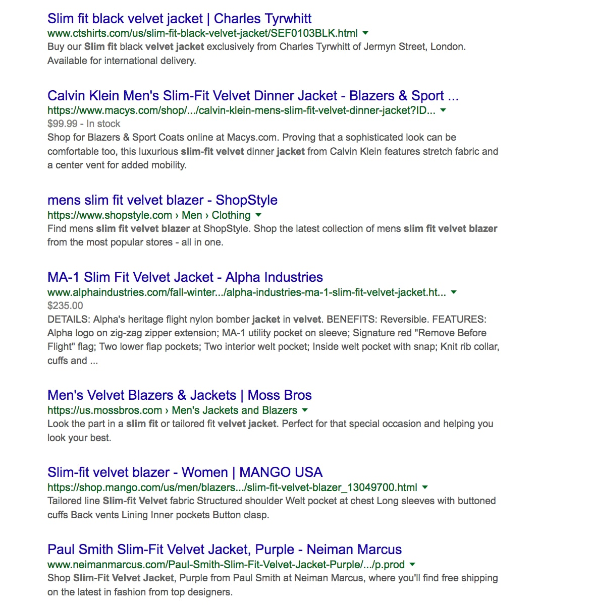 "Organic search results for ""velvet jackets."""