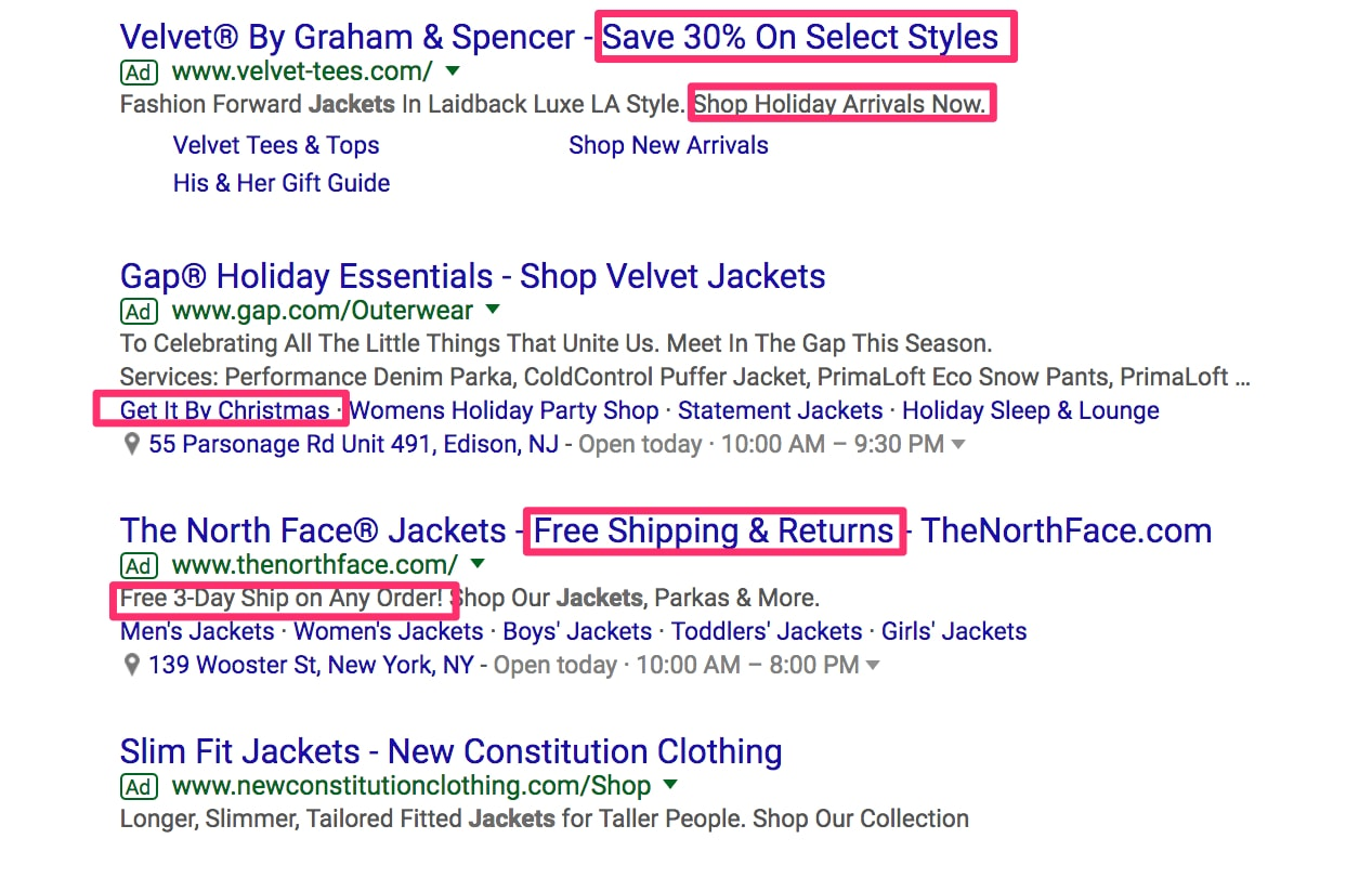 "AdWords results from a search on Google for ""velvet jackets."""