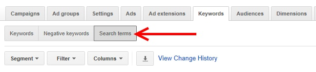 Select Keywords tab then select Search terms.