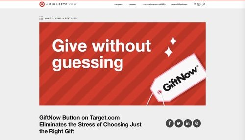 Target Blog: GiftNow button.