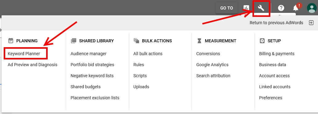 In the new AdWords interface, click the wrench icon in the upper right and select Keyword Planner.