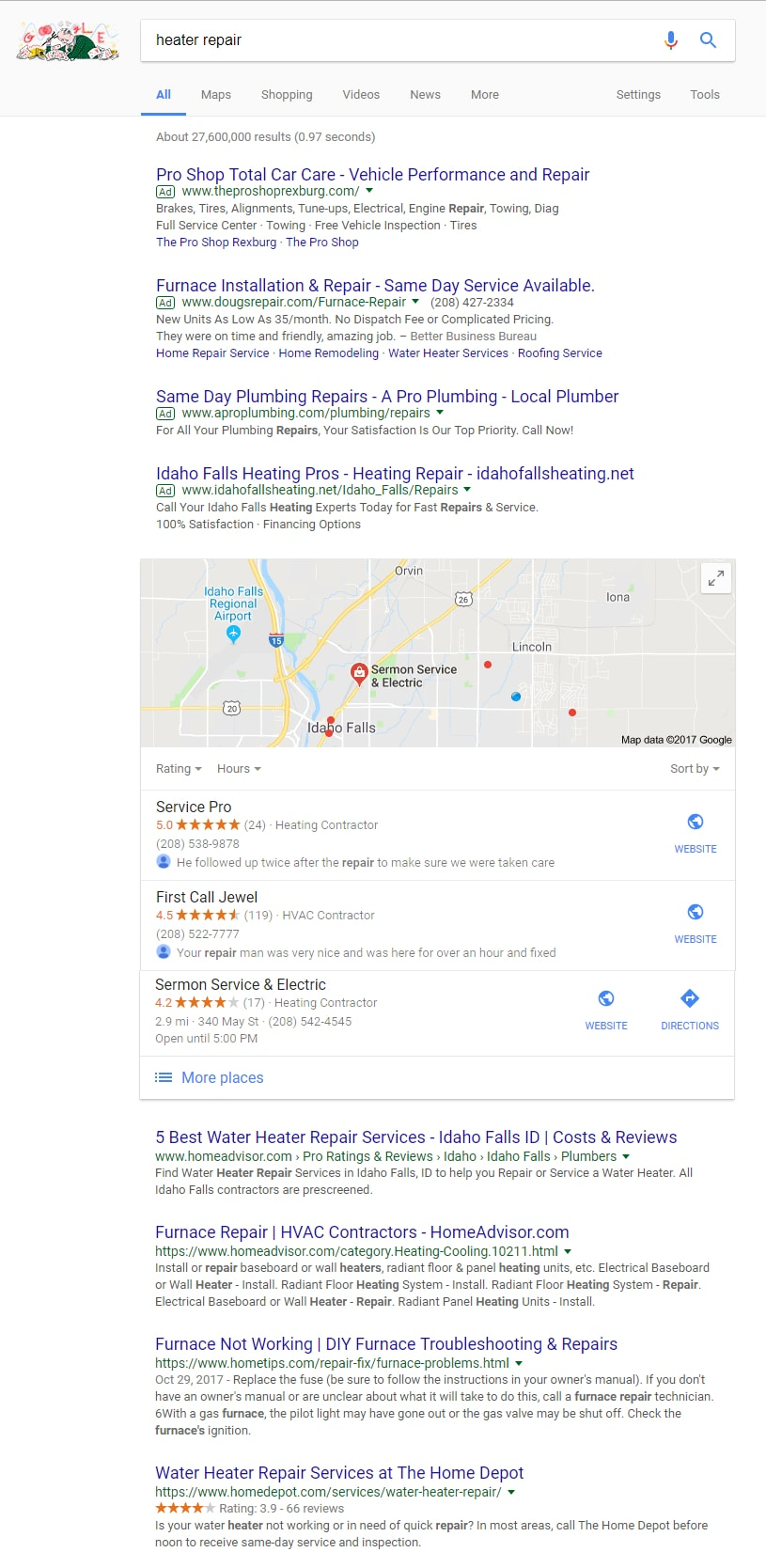 """Sample search results for """"heater repair"""""""
