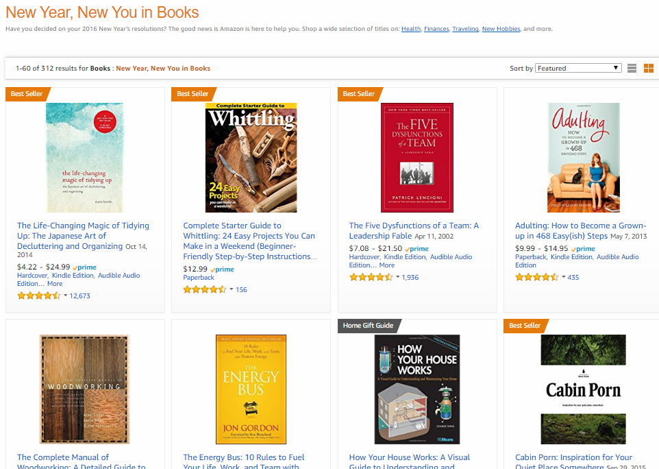 "Amazon's ""New Year, New You"" sections focus on popular resolutions. The products highlighted may or may not be discounted."