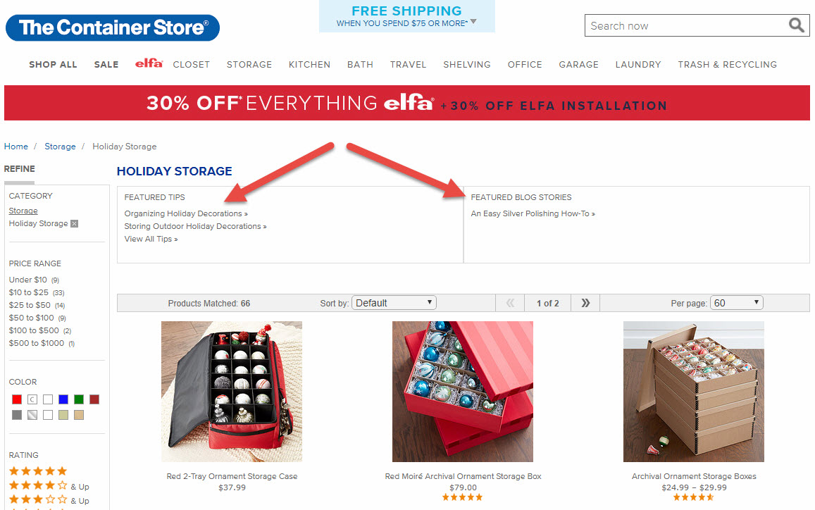 The Container Store links to supporting, relevant content to help shoppers make the best decision.