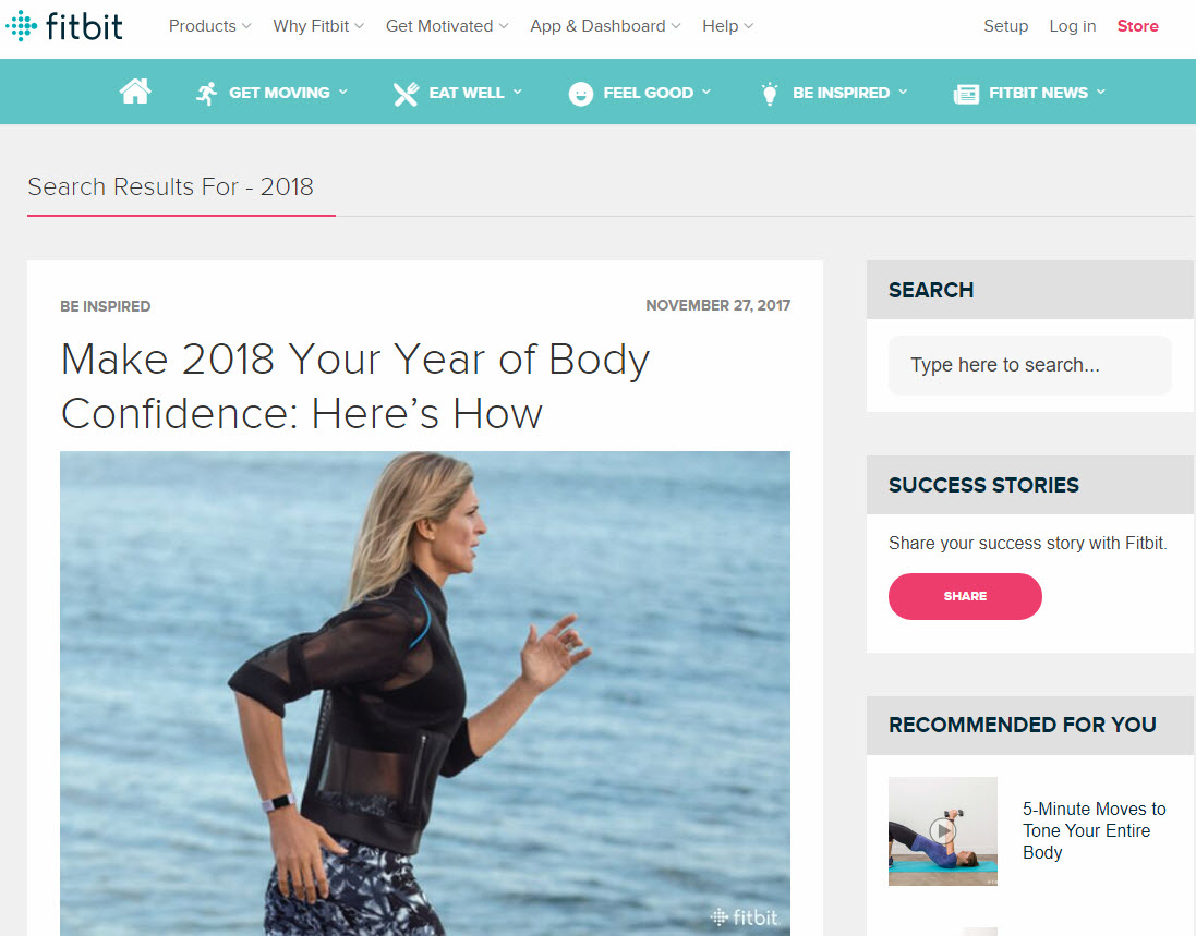 Fitbit's informative blog encourages users to get healthier in 2018.