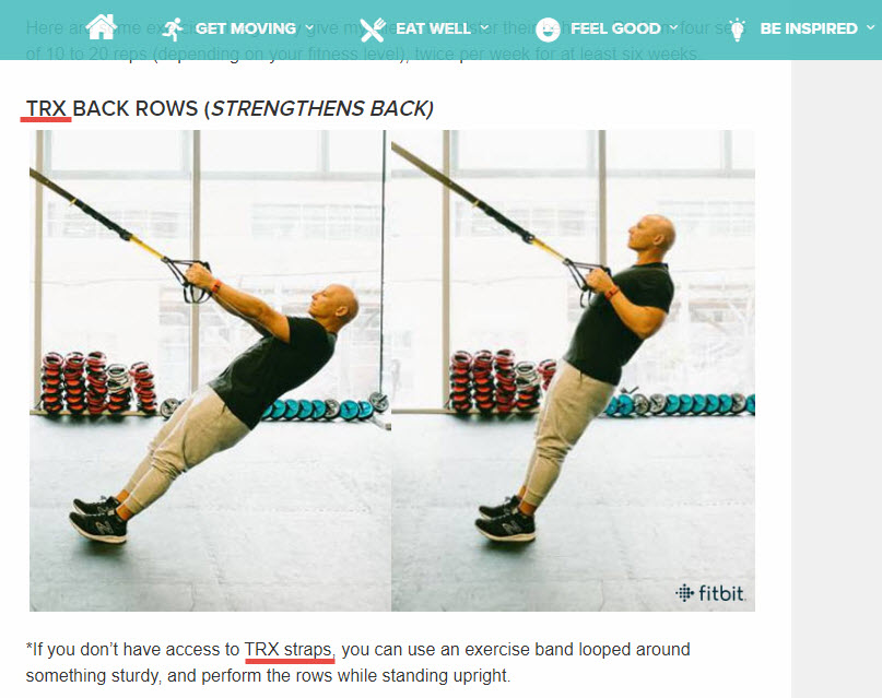 Fitbit's store does not sell TRX straps, but it still recommends them via its blog.