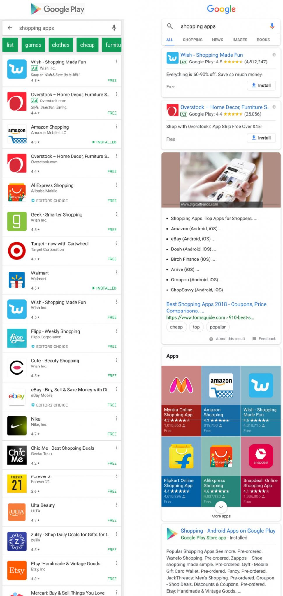 Google Android mobile app search options: the Google Play Store (left) and Google web search.
