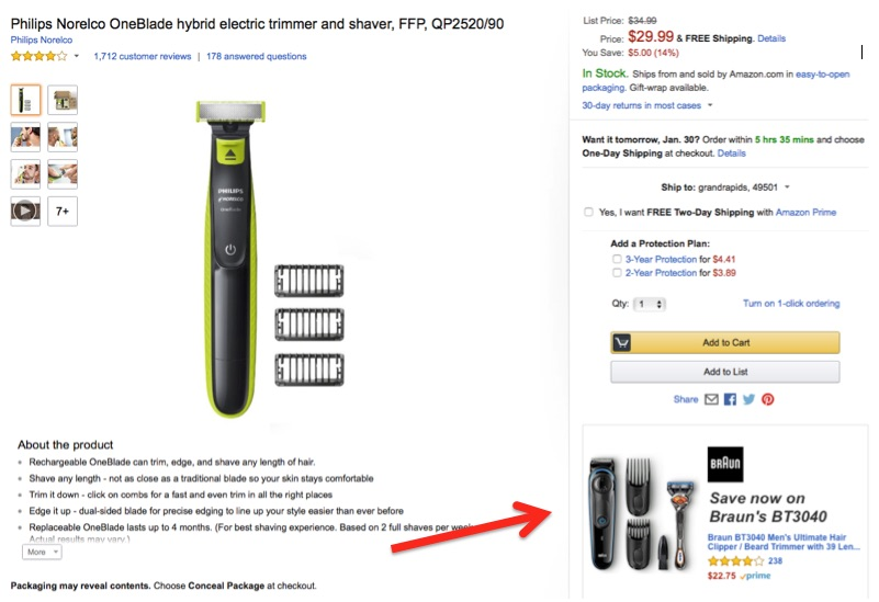 Product Display Ads can appear on a competitor's product page. In this example, an ad for Braun's razors appears on a Philips Norelco product page.