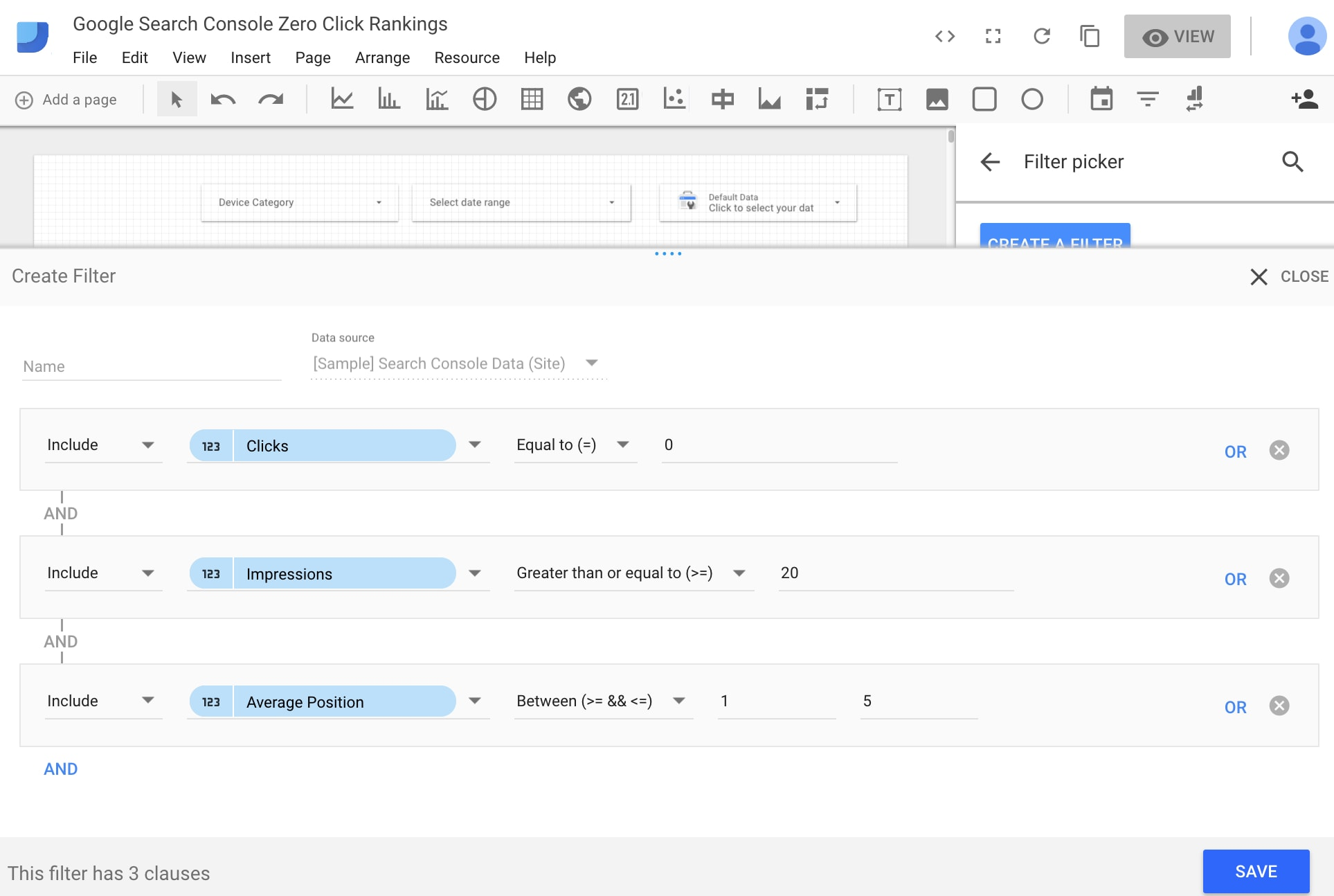 In Google Data Studio, filter keywords with zero clicks that rank in positions 1 through 5.