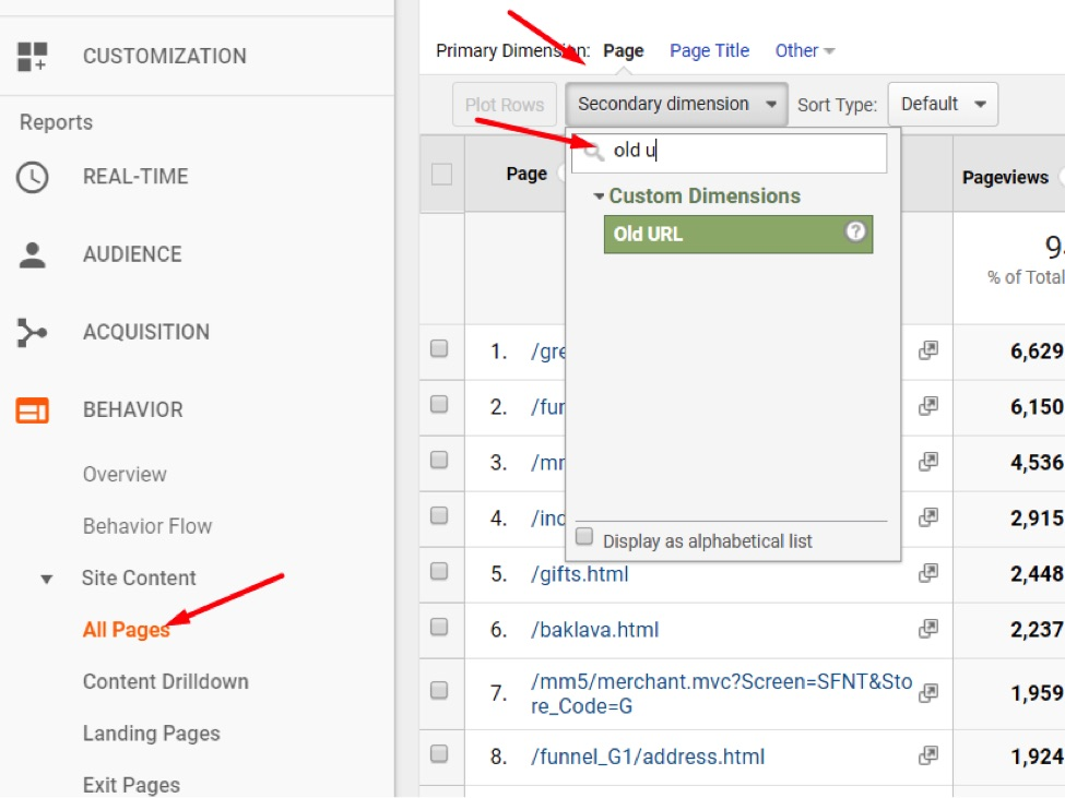 "Go to ""Behavior > Site Content > All Pages"" then Secondary Dimension."