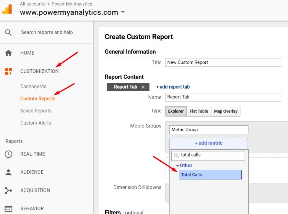 Go to Customization > Custom Reports > New Custom Report to create a custom report with your new Calculated Metric.