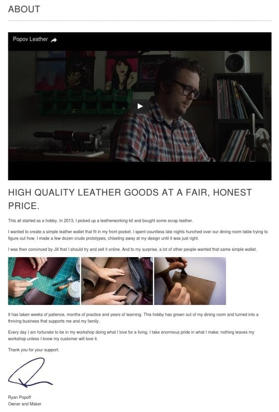 "The ""About"" page for Popov Leather tells a simple, straightforward story about its origin, along with interesting photos and a short, authentic video."