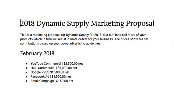 The completed marketing proposals are tailored to each supplier and include only the tactics proposed for it.