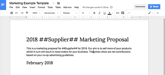 google doc create template