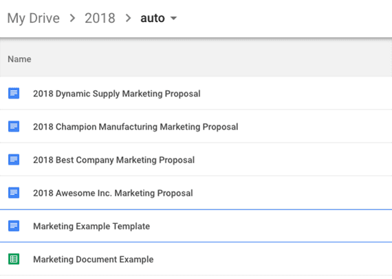 The new marketing proposals will be created in the same folder as the template.
