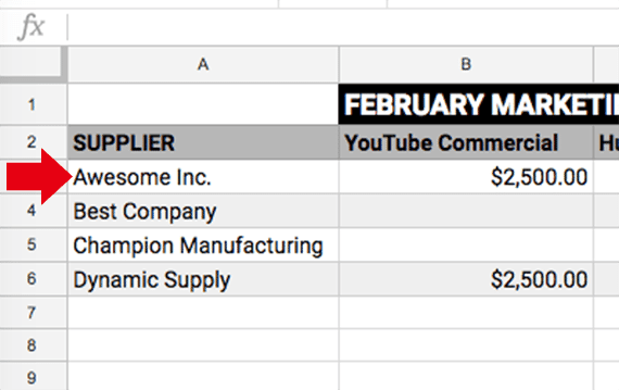 The tactics object in our script is an array of arrays representing the four rows of supplier marketing tactics from the Google Sheet. The first field <em>[0]</em> in the first row is the supplier name, Awesome Inc.