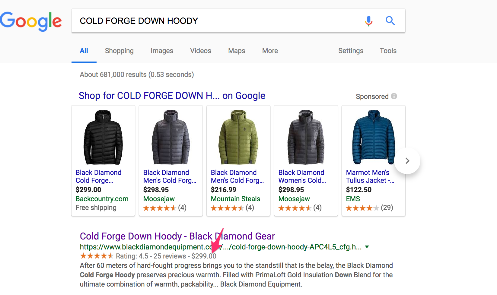 "Black Diamond Equipment shows prices in search results — $299 in this case for a ""Cold Forge Down Hoody."""
