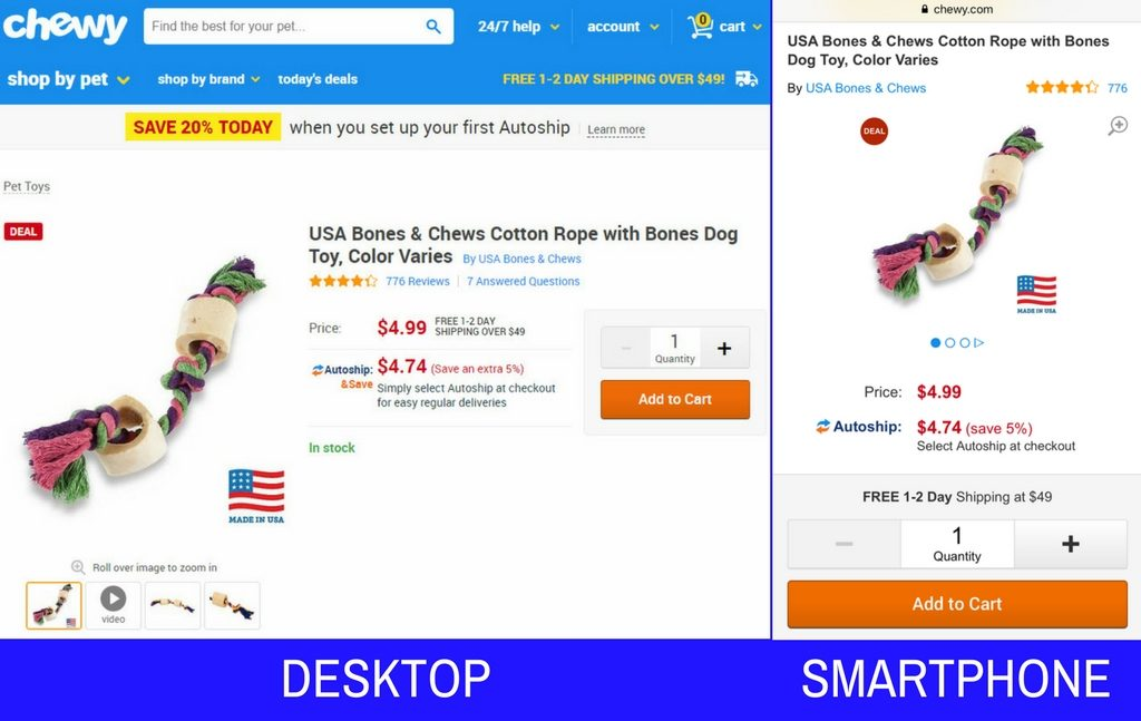 In this example from Chewy, the pet-supply store, the Add to Cart button is easily reachable, regardless of the way the shopper holds his phone.