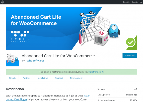 Abandoned Cart Lite is a free plugin for WooCommerce
