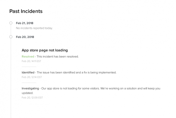 Shopify's status page includes past incidents, with details of what went wrong and when it was fixed.