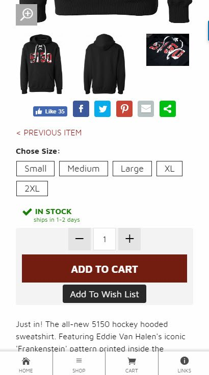 Example of an online store with a fixed menu at the bottom of the screen.