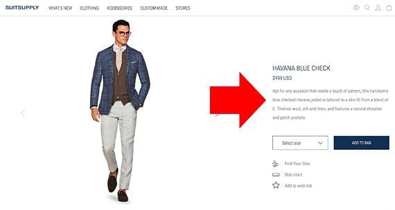 Suitsupply has three sections of information on its product detail pages, including a product description.