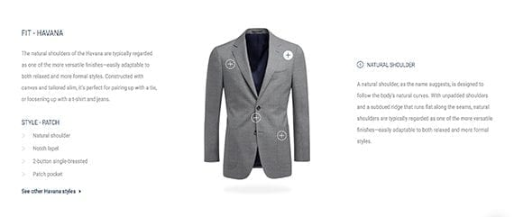 Another section of the Suitsupply product detail page offers product fit information.