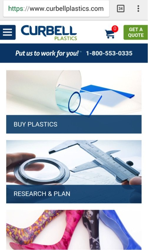 Curbell Plastics is optimized well for mobile with a clean layout.