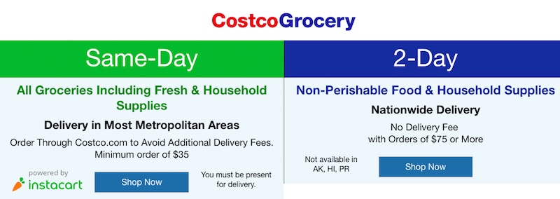 In October 2017, Costco launched CostcoGrocery, a service that provides two-day delivery on about 500 nonperishable items.