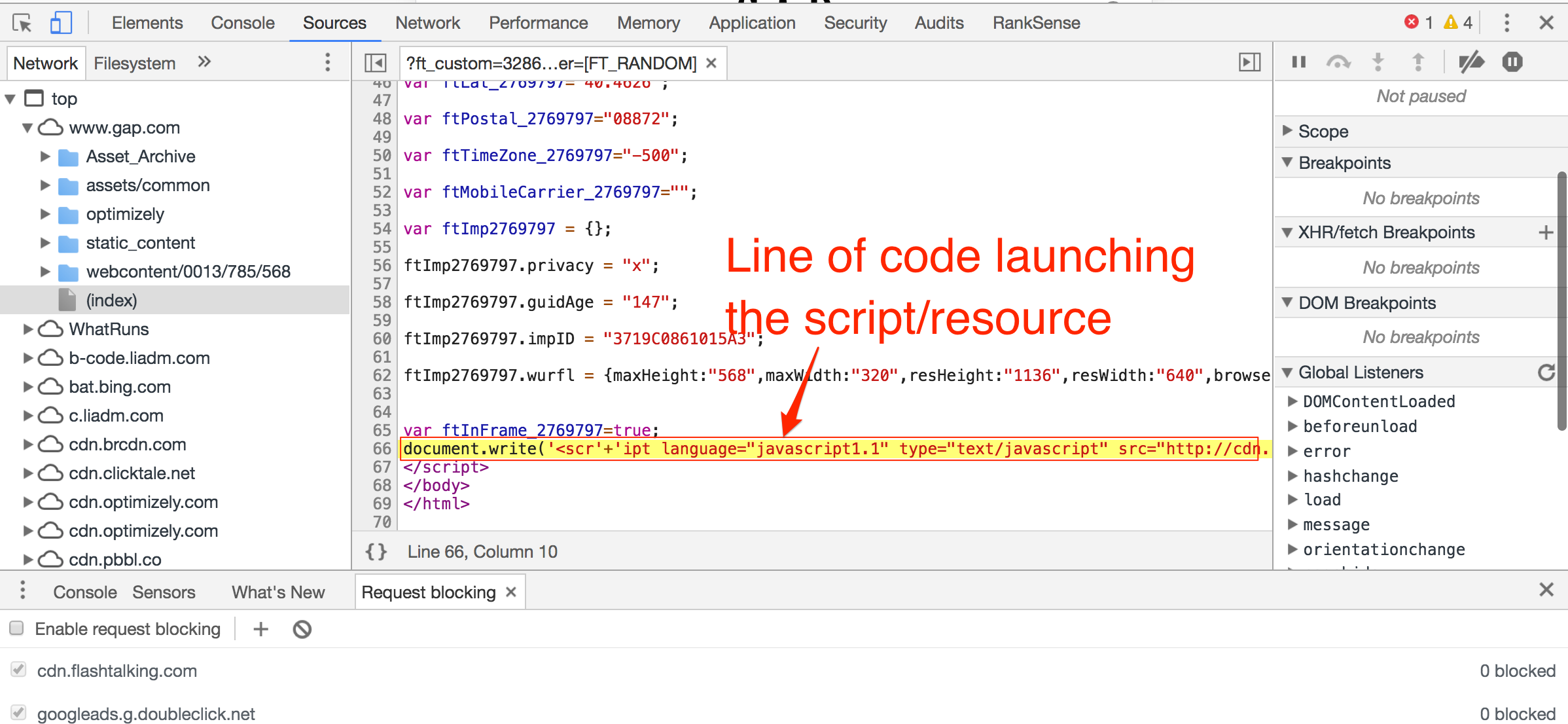 Hold SHIFT on your keyboard and mouse over the element whose caller you want to track. The caller will be highlighted in green. If you mouse over a caller, its callee would be highlighted in red. Click on the script-page name under the Initiator column, and you will get the exact source line of code.