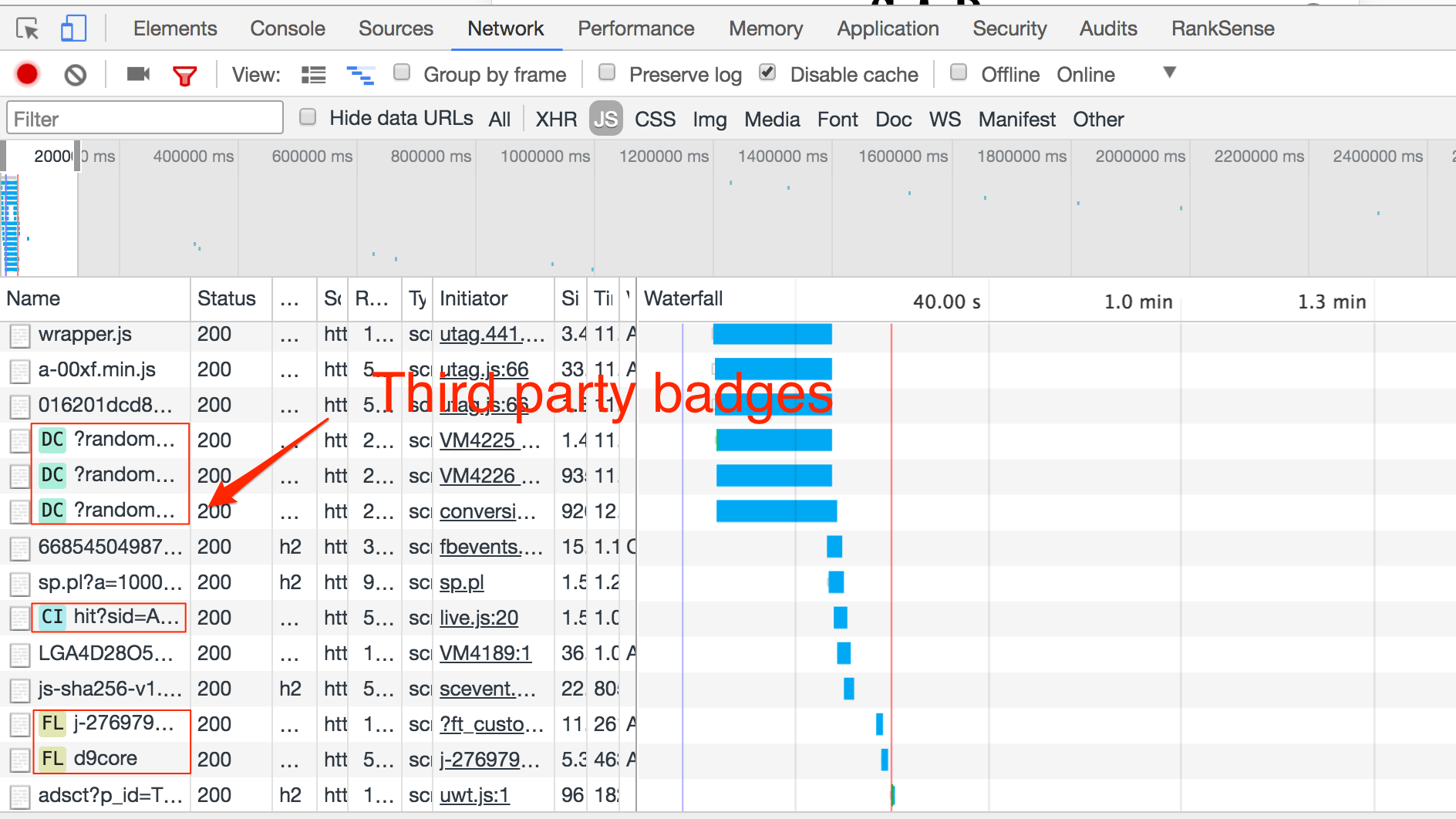 Chrome will add colored badges next to each resource from a third-party site. Mouse over to learn the vendor.