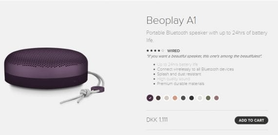 Neither this photo nor its initial product description indicates the item's size. Source: Beoplay.com